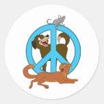 Animales de la paz etiqueta redonda