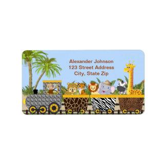 Animales de la selva del safari en etiqueta de etiquetas de dirección