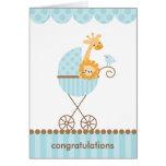 Animales de la selva en el cochecito azul Notecard Felicitaciones