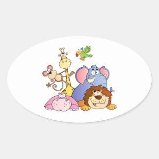 Animales de la selva pegatinas de oval personalizadas