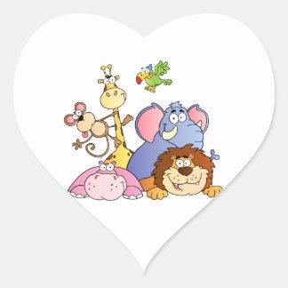 Animales de la selva pegatinas de corazon