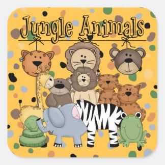 Animales de la selva pegatina cuadrada