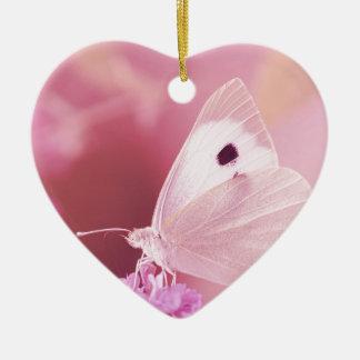 Animales de las mariposas que le faltan primavera adorno de cerámica en forma de corazón