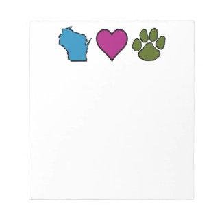 Animales de los corazones de Wisconsin Bloc De Papel