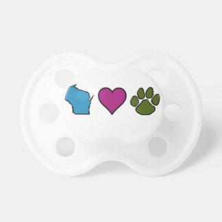 Animales de los corazones de Wisconsin Chupetes Para Bebes