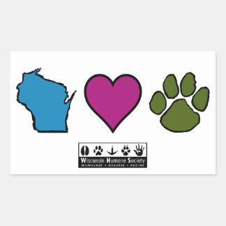 Animales de los corazones de Wisconsin Pegatina Rectangular