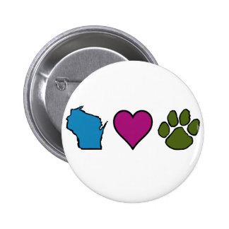 Animales de los corazones de Wisconsin Pin Redondo De 2 Pulgadas