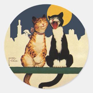 Animales de los gatos del vintage que cantan, pegatina redonda