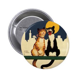 Animales de los gatos del vintage que cantan, pin redondo de 2 pulgadas