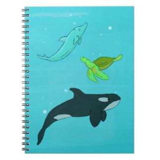 Animales de mar spiral notebooks