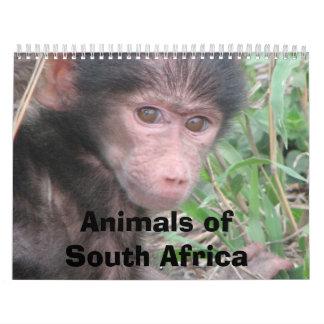 Animales de Suráfrica Calendario De Pared