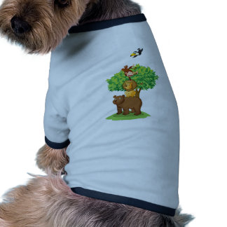 animales debajo del árbol camiseta con mangas para perro
