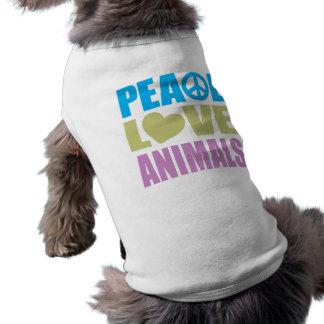 Animales del amor de la paz camiseta de perrito