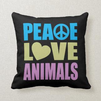 Animales del amor de la paz cojin
