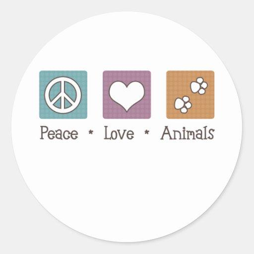 Animales del amor de la paz (dos patas) pegatina redonda