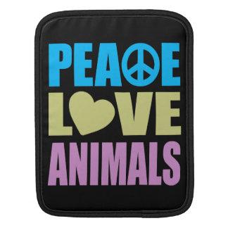 Animales del amor de la paz mangas de iPad