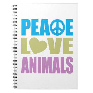 Animales del amor de la paz libretas