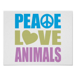 Animales del amor de la paz poster