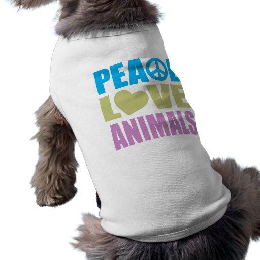 Animales del amor de la paz playera sin mangas para perro