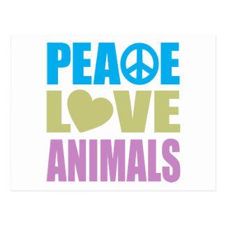 Animales del amor de la paz tarjeta postal