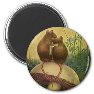 Animales del amor y del romance del vintage, raton imán para frigorifico