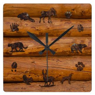 Animales del arbolado en registros reloj cuadrado