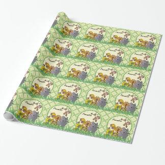Animales del bebé de la selva del safari papel de regalo