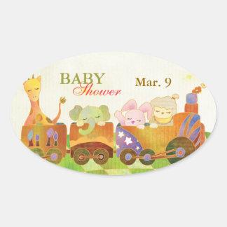 Animales del bebé en el pegatina de la fiesta de