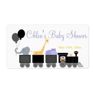 Animales del bebé en etiquetas del tren de una etiquetas de envío