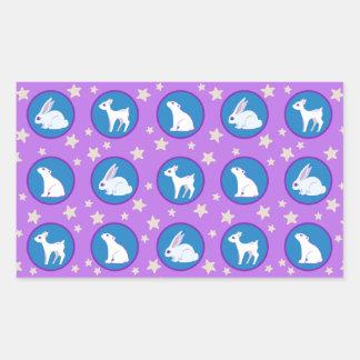 Animales del blanco puro con el modelo del arte de pegatina rectangular