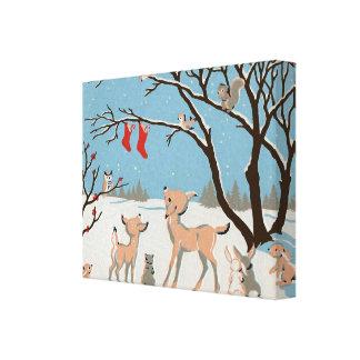 Animales del bosque del invierno impresión de lienzo