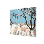 Animales del bosque del invierno impresiones en lienzo estiradas