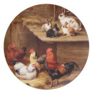 Animales del campo de las gallinas del gallo del c platos de comidas