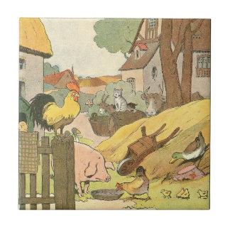 Animales del campo del libro de la historia de los azulejo cuadrado pequeño
