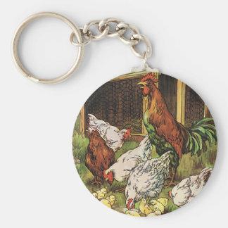 Animales del campo del vintage, gallo, gallinas, llavero redondo tipo pin