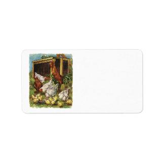 Animales del campo del vintage, gallo, gallinas, p etiqueta de dirección