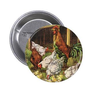 Animales del campo del vintage, gallo, gallinas, pin redondo 5 cm