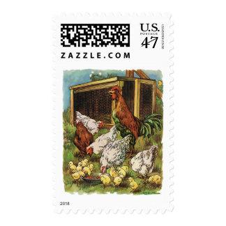 Animales del campo del vintage, gallo, gallinas, sellos