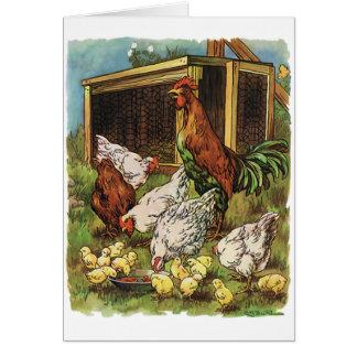 Animales del campo del vintage, gallo, gallinas, tarjeta pequeña