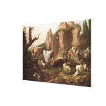 Animales del campo en un paisaje, 1685 impresión en tela