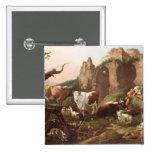 Animales del campo en un paisaje, 1685 pin cuadrado