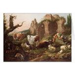Animales del campo en un paisaje, 1685 tarjeta de felicitación