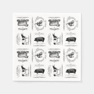 animales del campo franceses del vintage moderno servilleta de papel