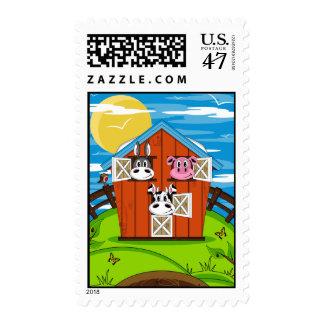 Animales del campo lindos en sello del granero