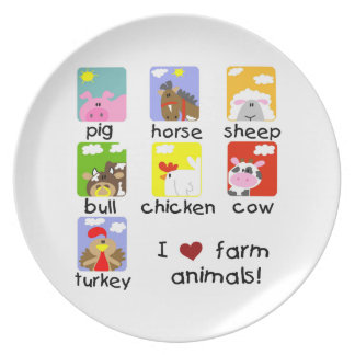 Animales del campo plato para fiesta