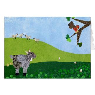 Animales del campo que pastan tarjeta de felicitación
