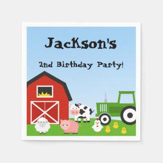Animales del campo, vaca, tractor, oveja, cerdos, servilletas de papel