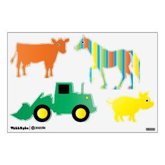 Animales del campo y etiquetas de la pared del