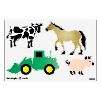 Animales del campo y etiquetas de la pared del muc