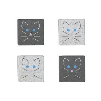 Animales del dibujo animado de los ojos azules de imán de piedra